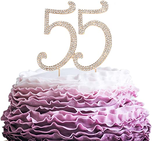 Excellent Amazon Com Lingpar 55 Years Birthday Cake Topper New Best Personalised Birthday Cards Paralily Jamesorg