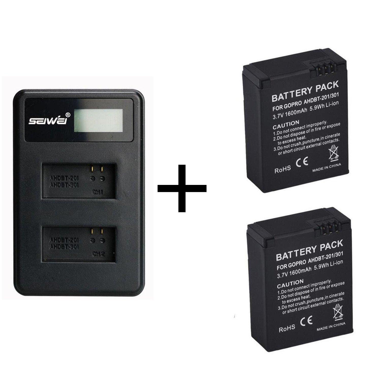 4 Piezas 1600mAh para GoPro AHDBT-201/301 Batería de la Cámara con Cargador de Batería Dual para Gopro Hero 3 3+ AHDBT-301, Batería AHDBT-201 (4 pcs ...
