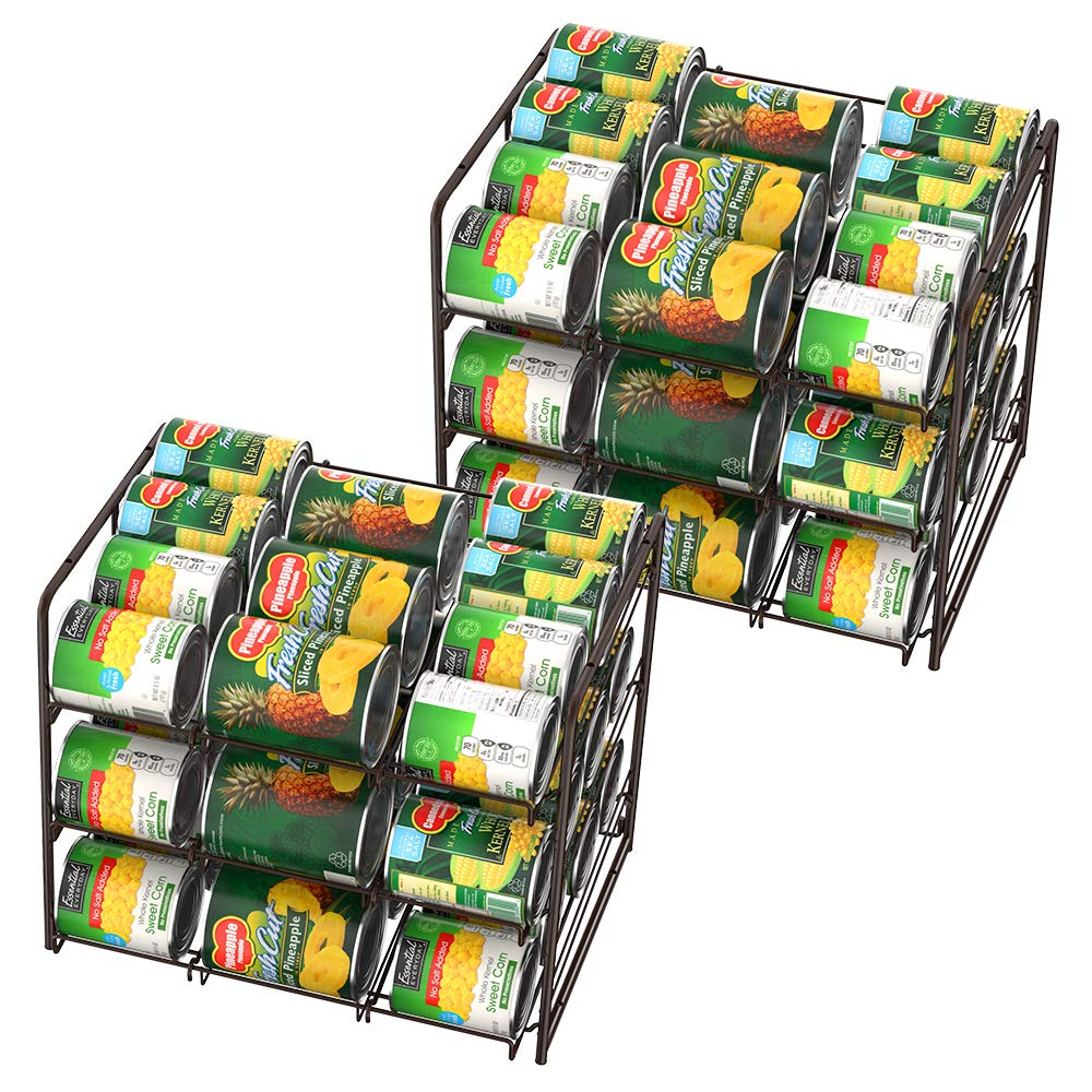 NEX 2 Packs Stackable Can Rack Organizer, 3 Tier Can Storage Dispenser Rack Holder for 36 Cans (Each) by NEX