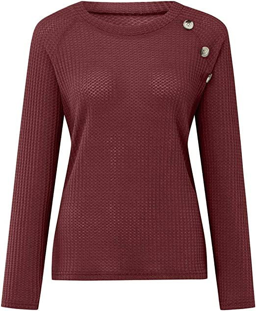 Moilant Women Solid Knitted Sweater T-Shirt Long Sleeve O-Neck Tops Buttons Tunic Blouse Pullover