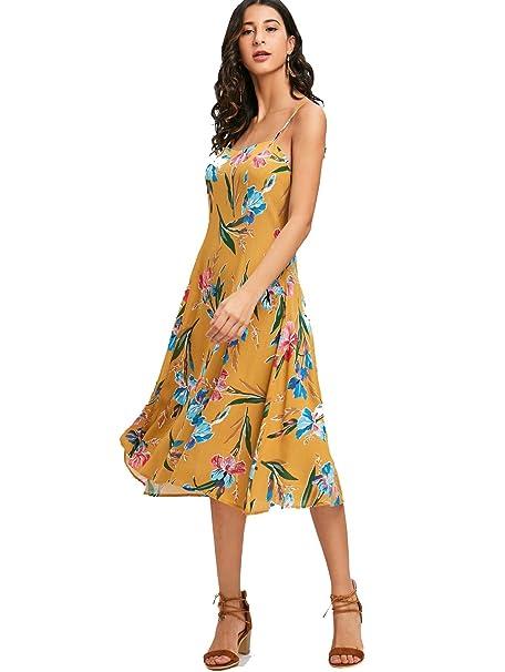 3bb84725b556 Langstar Strandkleid Damen Sommer Rückenfreie Blumendrucken Spaghetti Träger  Sexy Midi Vintage Blumen Print Kleider