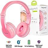 Kabellose Bluetooth Kopfhörer für Kinder - BuddyPhones Play | Verstellbare Lautstärkebegrenzung zu 75, 85, 94 dB | Faltbar mit 14h Batterielaufzeit | Optionales Kabel zum Mithören | Rosa