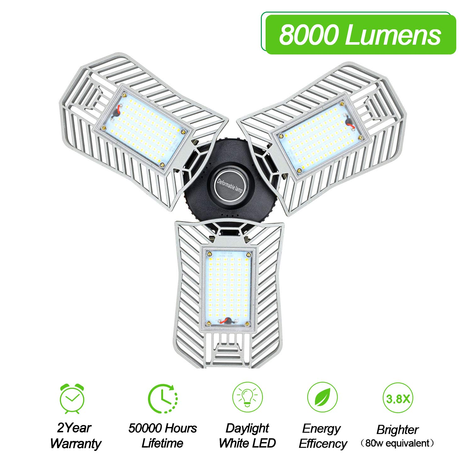 Garage Light Led 8000 Lumen 360° Wide Angle Screw-in 80W 216pcs LED Diodes with 3 Adjustable Panels for Garage Workshop Basement(No Motion Activated)