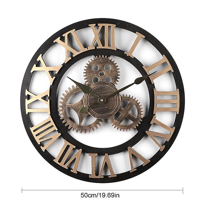Tosbess Horloge Pendule Murale en Style Vintage -Silencieuse Creux Rétro  Chiffres Romains Horloge Décoration - diamètre 50 cm  Amazon.fr  Cuisine    Maison bf97ba2e3cf9
