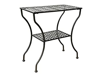 Iron Antique Black 2 Tier Patio Side Table