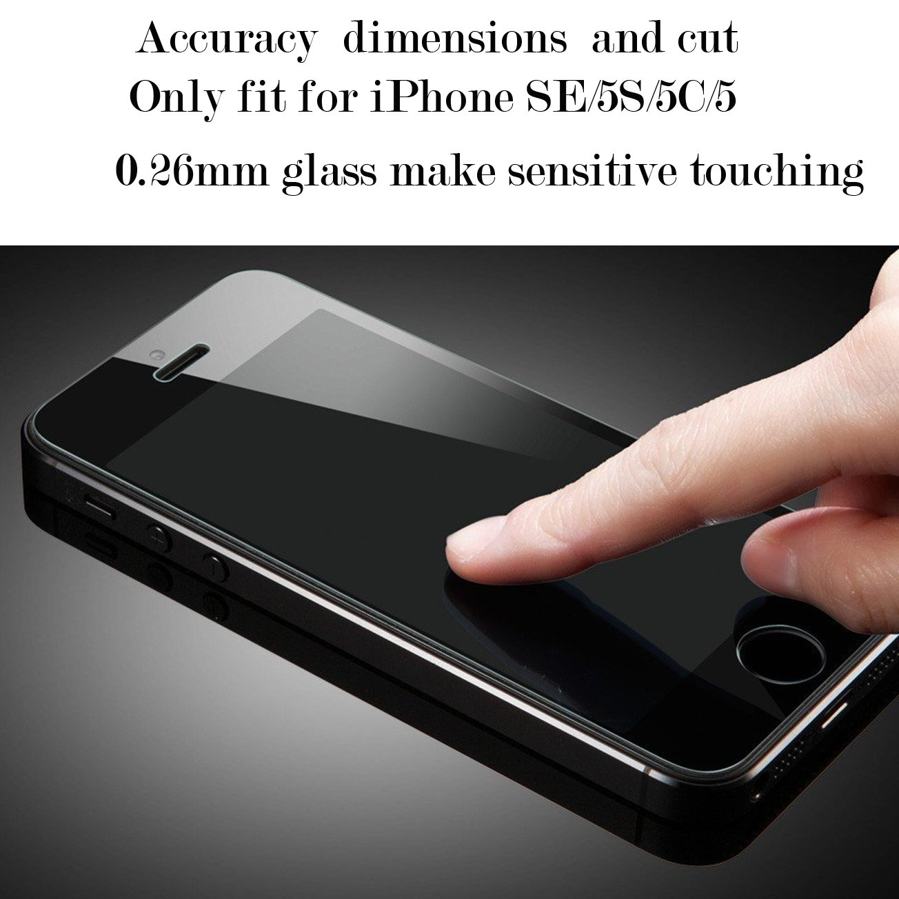 [1-Pack] iPhone 5S/SE/5C/5 Screen Protector,iBarbe iPhone Se Glass Screen Protector,Transparent Tempered Glass Screen Protector Film 9H Hardness(0.26mm HD Ultra Clear) by iBarbe (Image #5)