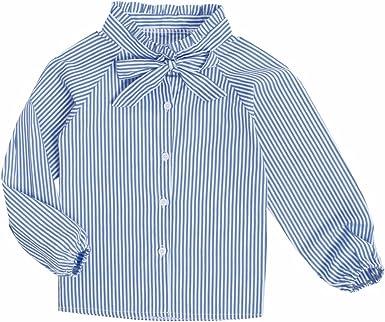 Sanlutoz A rayas Niña Top Azul Camisas para niñas Manga larga ...