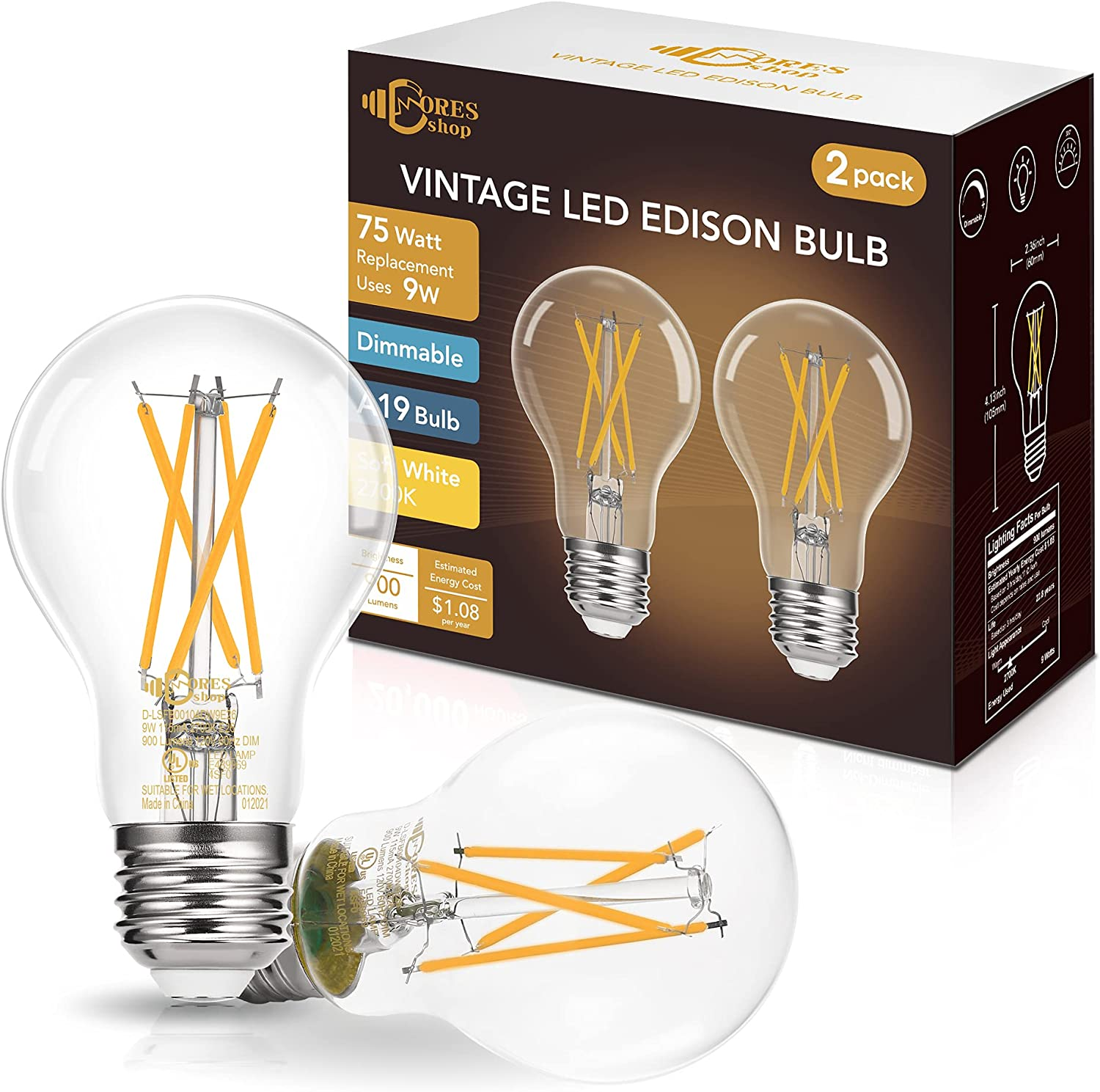 Dimmable A19 LED Edison Bulb 75W Equivalent, DORESshop 9W A19 Vintage LED Filament Bulb, 2700K Soft White, 900LM, Antique Style Decorative Bulbs for Cafe Home Office, Classic Clear Glass, 2Pack
