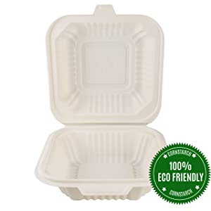 "HeloGreen Eco-Friendly 6""x 6"", 1-Compartment (125 Set) Cornstarch Disposable Food Containers With Lids For: Lunch Salad Meal Prep Storage Box To Go Leftover, Microwave and Freezer Safe"