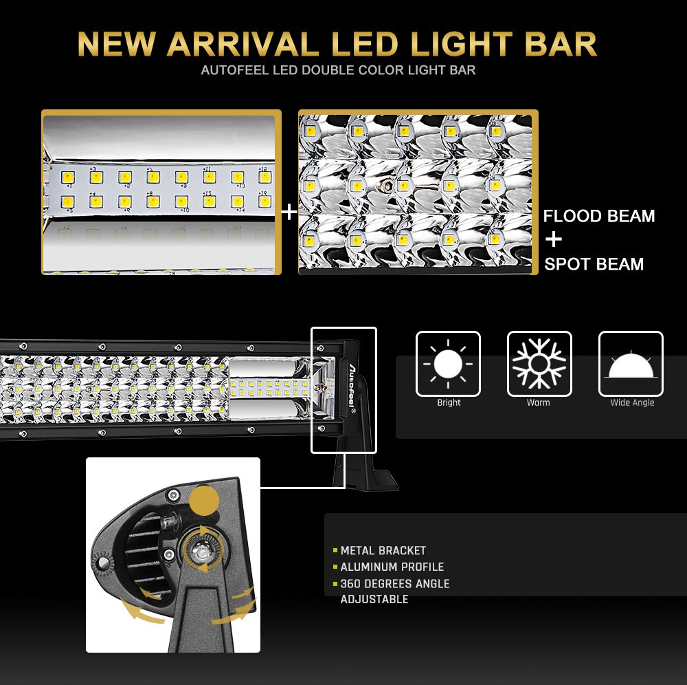 Led Light Bar Curved Autofeel 22 Inch 216w Triple Row Humvee Engine Wiring Harness Schematics Driving Emergency Fog Snow Flashing Amber Off Road