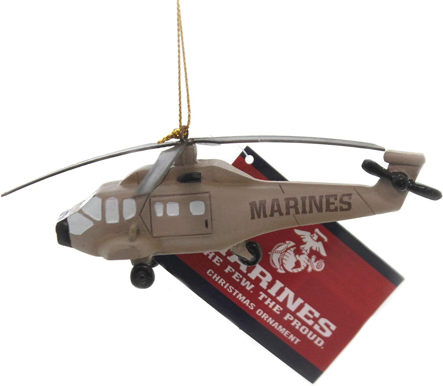 Kurt Adler U.S. Marine Corps Helicopter Hanging Ornament, 4.53 inches Tall