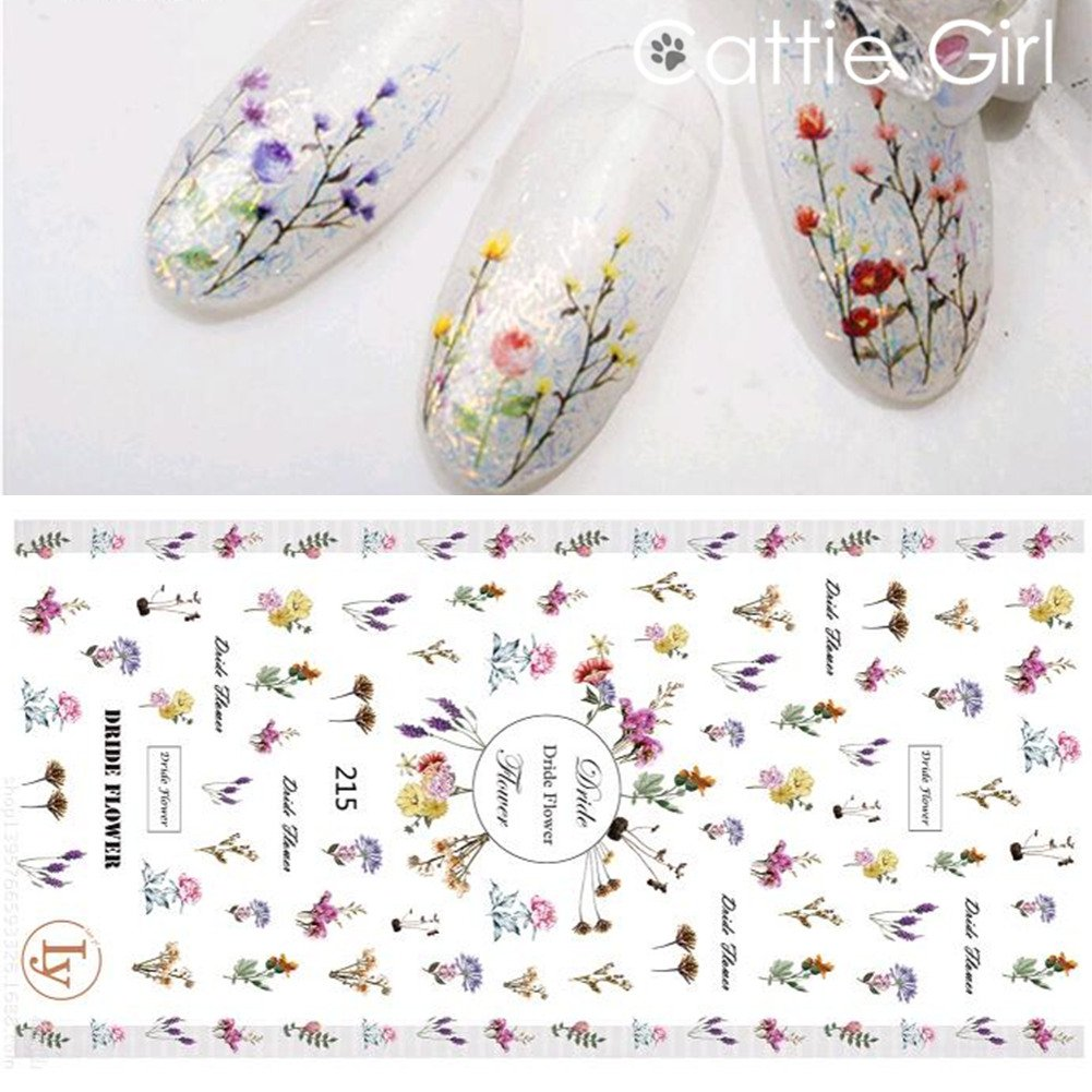 1 Sheet Flowers Leaves Manicure Nail Design 3D Stickers 3D Decal Nail Art Decoration Nail Transfer Sticker