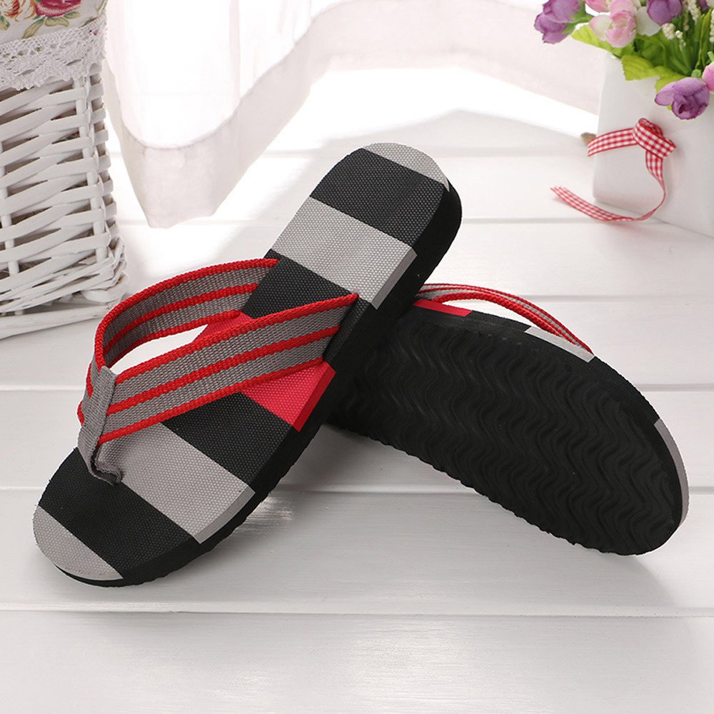 Corriee Mens Fashion Striped Printed Indoor Outdoor Flip Flops Breathable Anti-Slip Shoes Male Summer Slippers Gray by Corriee (Image #2)