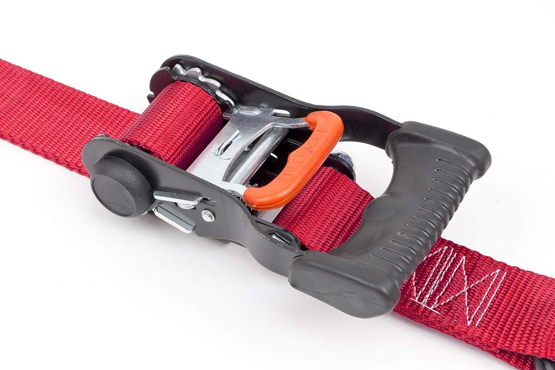 Pair Black Powertye 1/½in x 7ft Ergonomic Locking Ratchet Tie-Downs Made in USA with Heavy-Duty S-Hooks