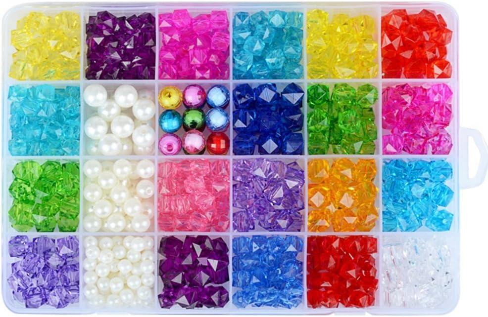 rosenice cuentas cristal acrílico Surtido Colores Para Juegos y juguetes de manualidades pulseras collares y joyas DIY Fai Da Te y regalo de niños con scatla a 24compartimentos