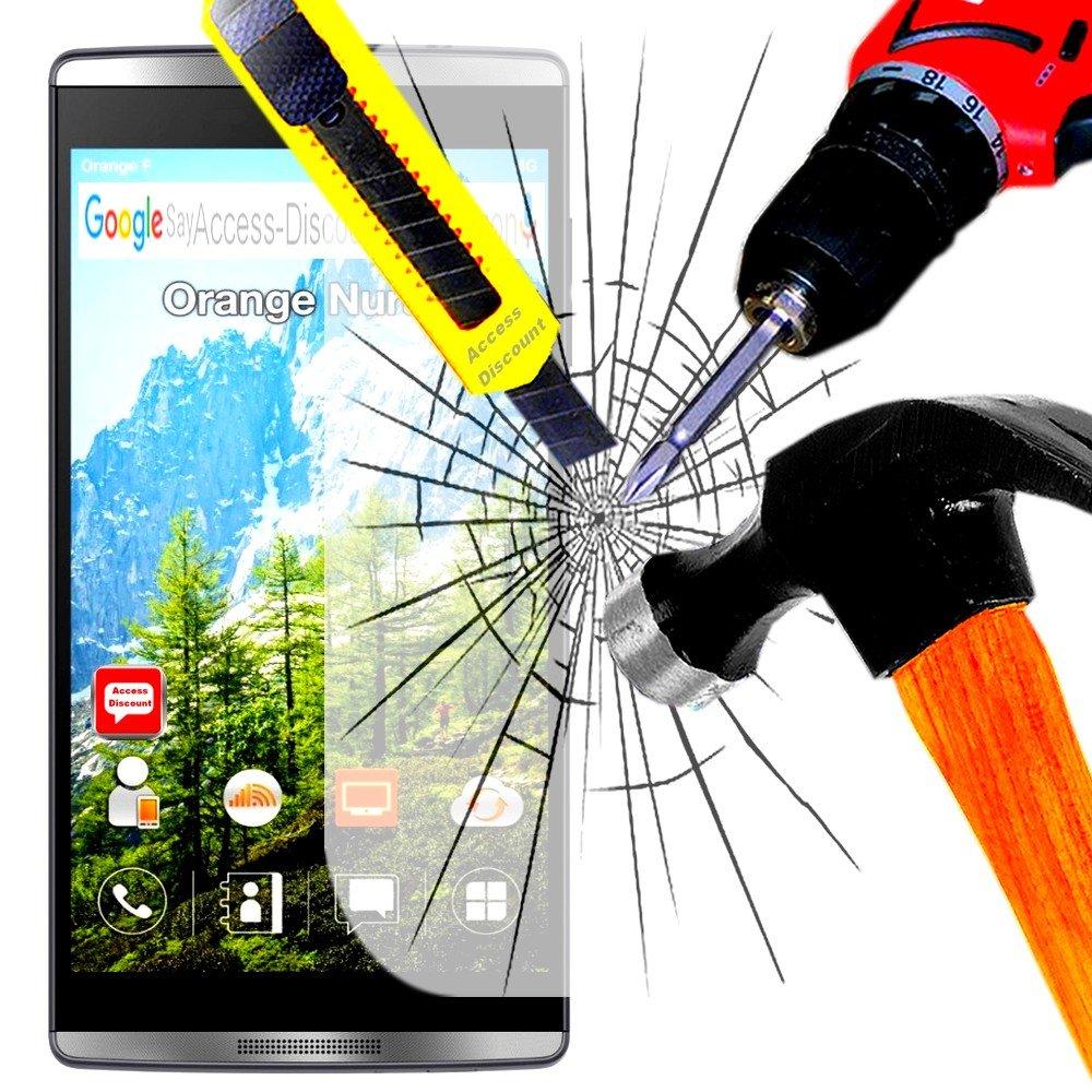Pack a & D® Protector de pantalla de vidrio templado para Orange Nura 2 filtro protector de pantalla invisible & inrayable cristal irrompible para Smartphone gris ...