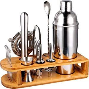 stusgo Cocktail Making Sets,15 Pcs Drink Mixer Shaker Set with Bamboo Stand, Martini Shaker Set Perfect Home Bartender Mixing Kit, 24 Oz Bar Tools Professional Bar and Home Drink Barware Tools,