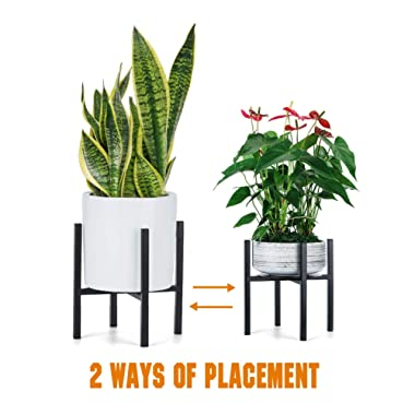 Plant Stand for Indoor Outdoor Plant Pots | Pccooler Mid Century Rustproof Iron Art Flower Pot Holder | Extra Tray Fit Any Planter Pot Below 9.7 Inches | Modern Home Decor (9.7 inches)