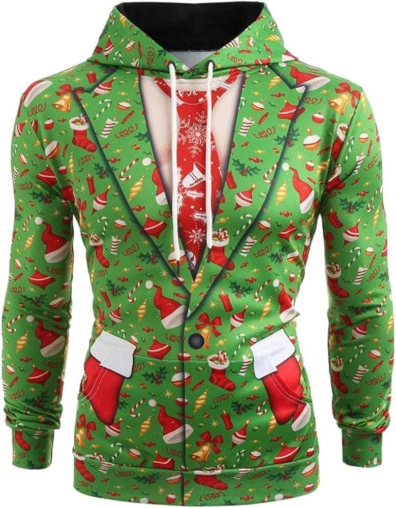 Internet-Sudadera con Capucha de Navidad, Estampado de Navidad en 3D, Suéter de Manga Larga con Capucha para Hombre, Camisa Acolchada, Suéter (Verde M-5XL): Amazon.es: Ropa y accesorios