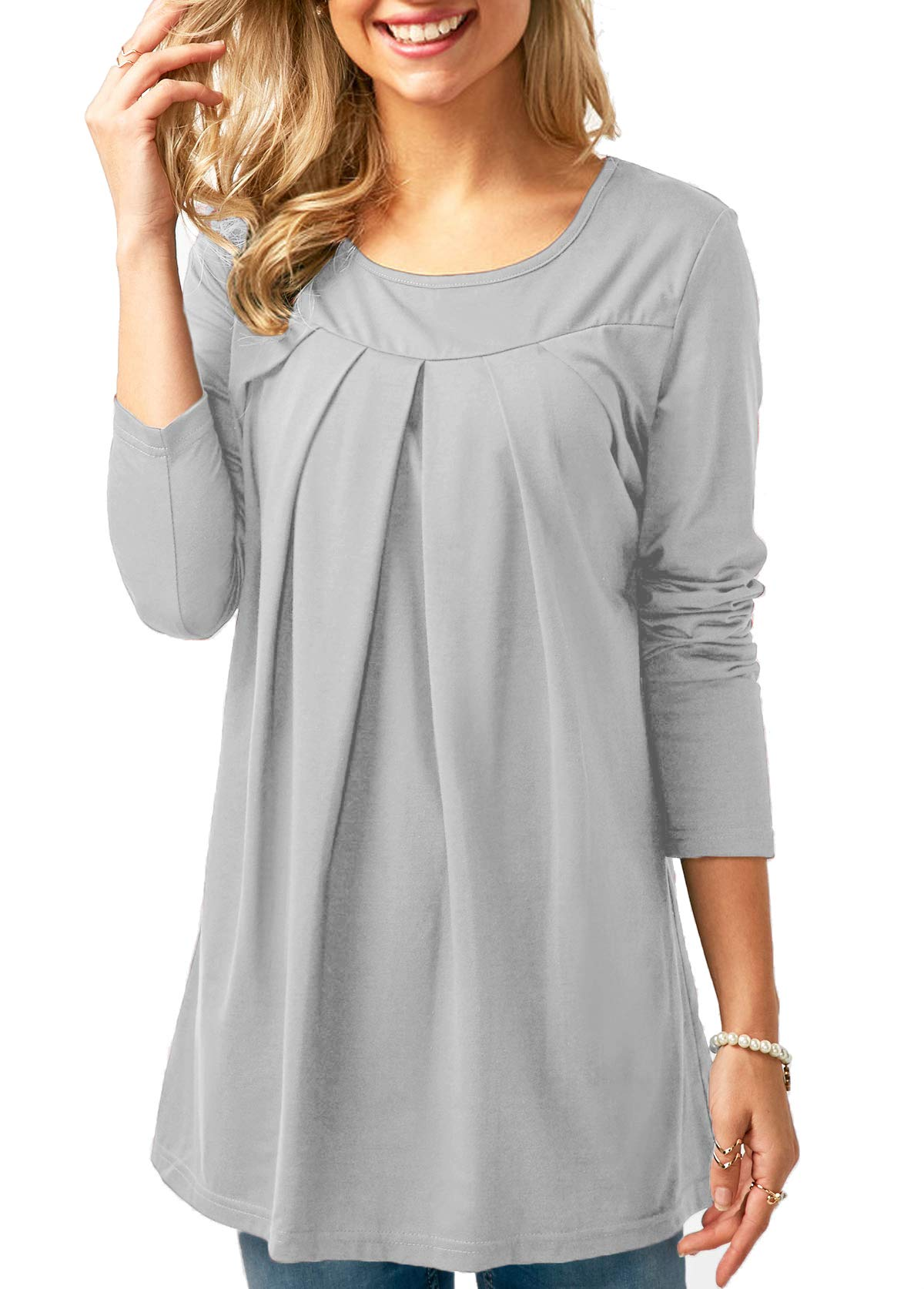 KISSMODA White Shirts Blouse for Woman Casual Tunic Tops Fit Flare Pleated High Low Light Gray M