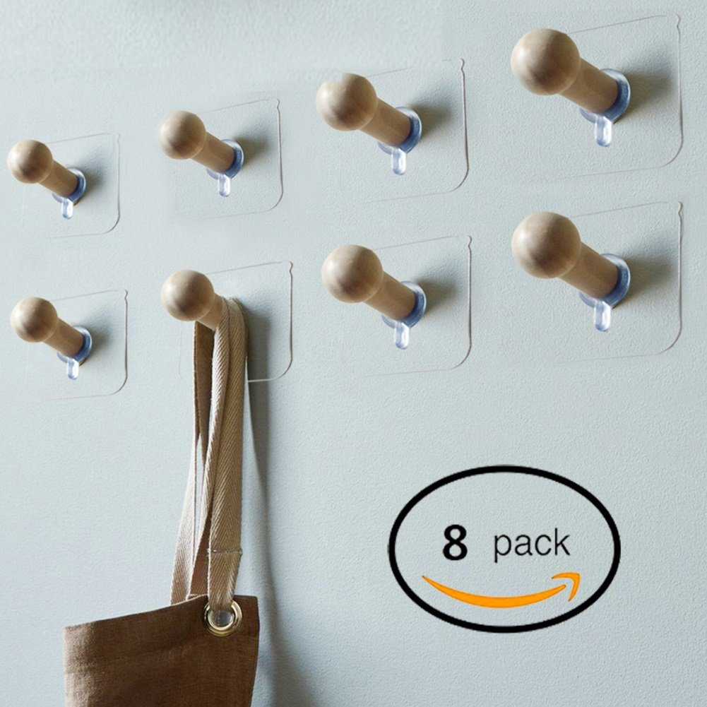 Sendida Self Adhesive Wall Hooks - 8 Pack No Drills Wooden Hat Hooks Storage Wall Mounted Coat Hanging Hook for Coat Towel Hat Key Robe Hooks On Door Wardrobe Closet
