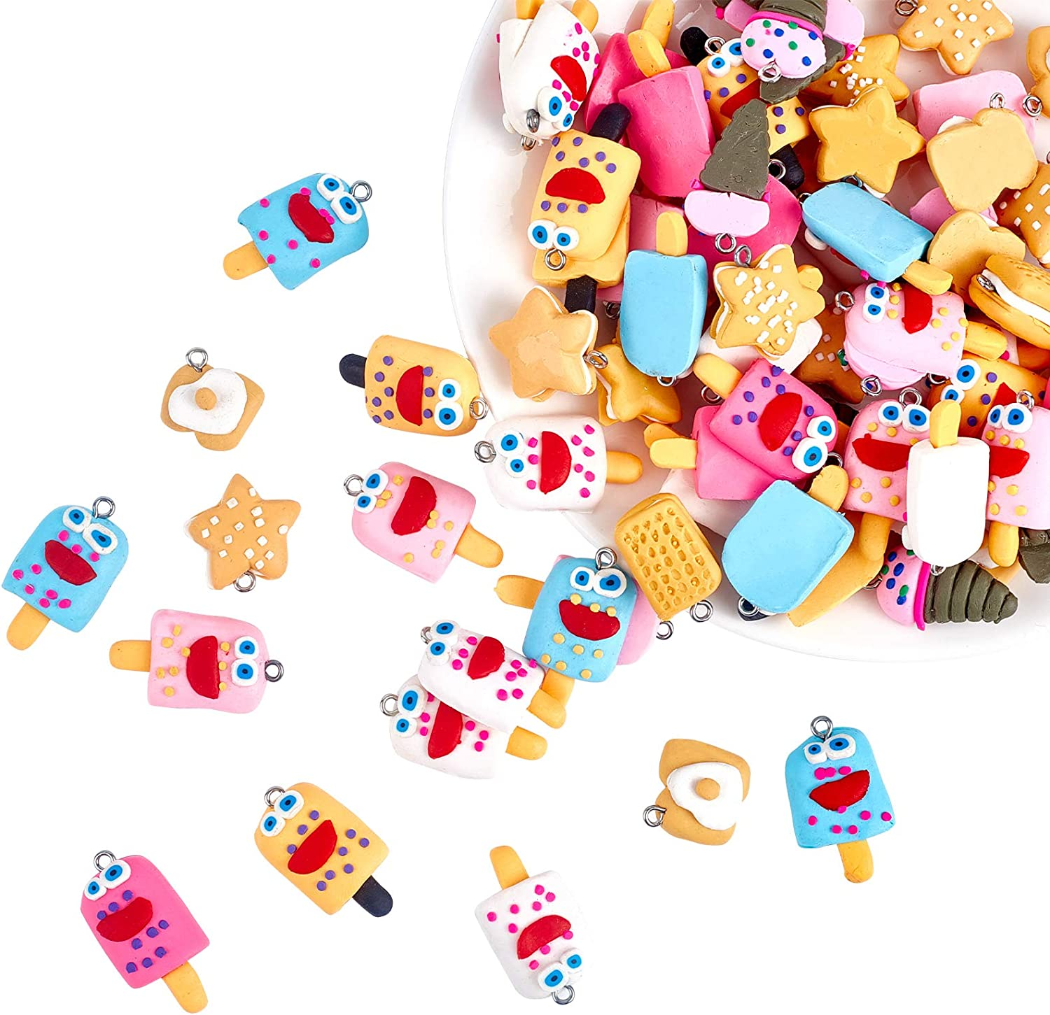 NBEADS 100 Pcs Food Theme Polymer Clay Charm Pendants, Random Mixed Handmade Polymer Clay Link Charms Food Cake Ice-Cream Dessert Slime Beads for Phone Straps Key Bag Decor DIY Jewelry Making