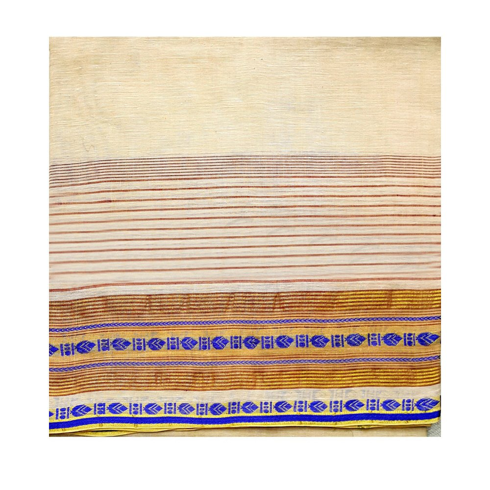 Bengali Cotton Dhoti Beige Color with Nice Borders RKGGAG85