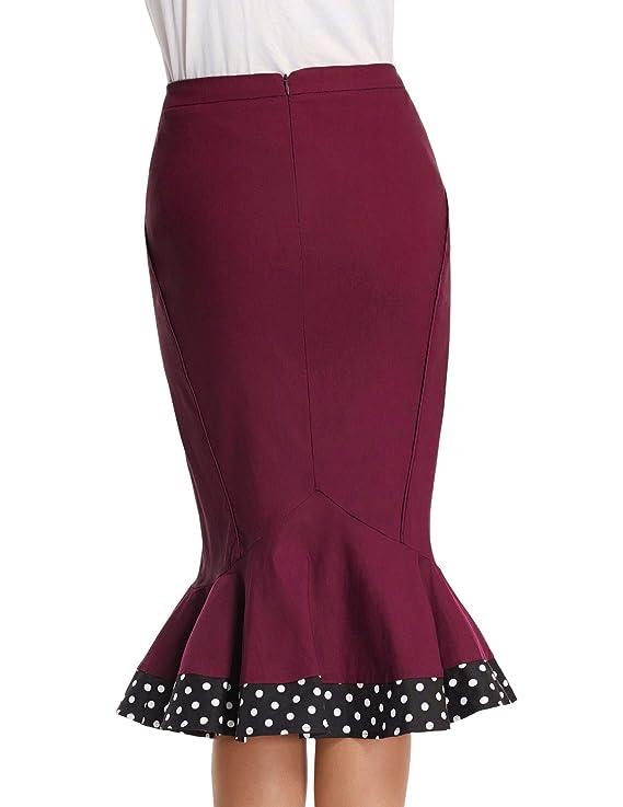 c5f55e34af0a2 Belle Poque Gonna Longuette Vintage da Donna Stile Hepburn Polka Dots Vino  BP437-2 S  Amazon.it  Abbigliamento