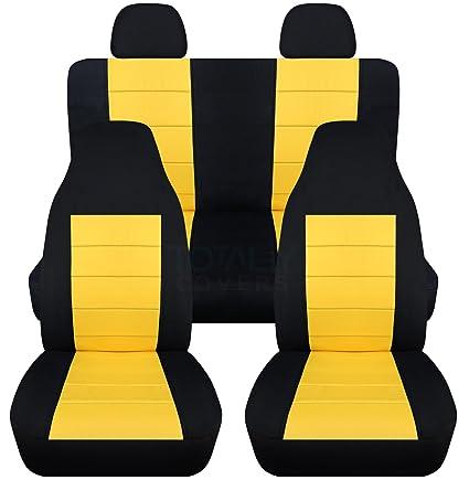 Amazon Com 2 Tone Car Seat Covers W 2 Rear Headrest Covers Black