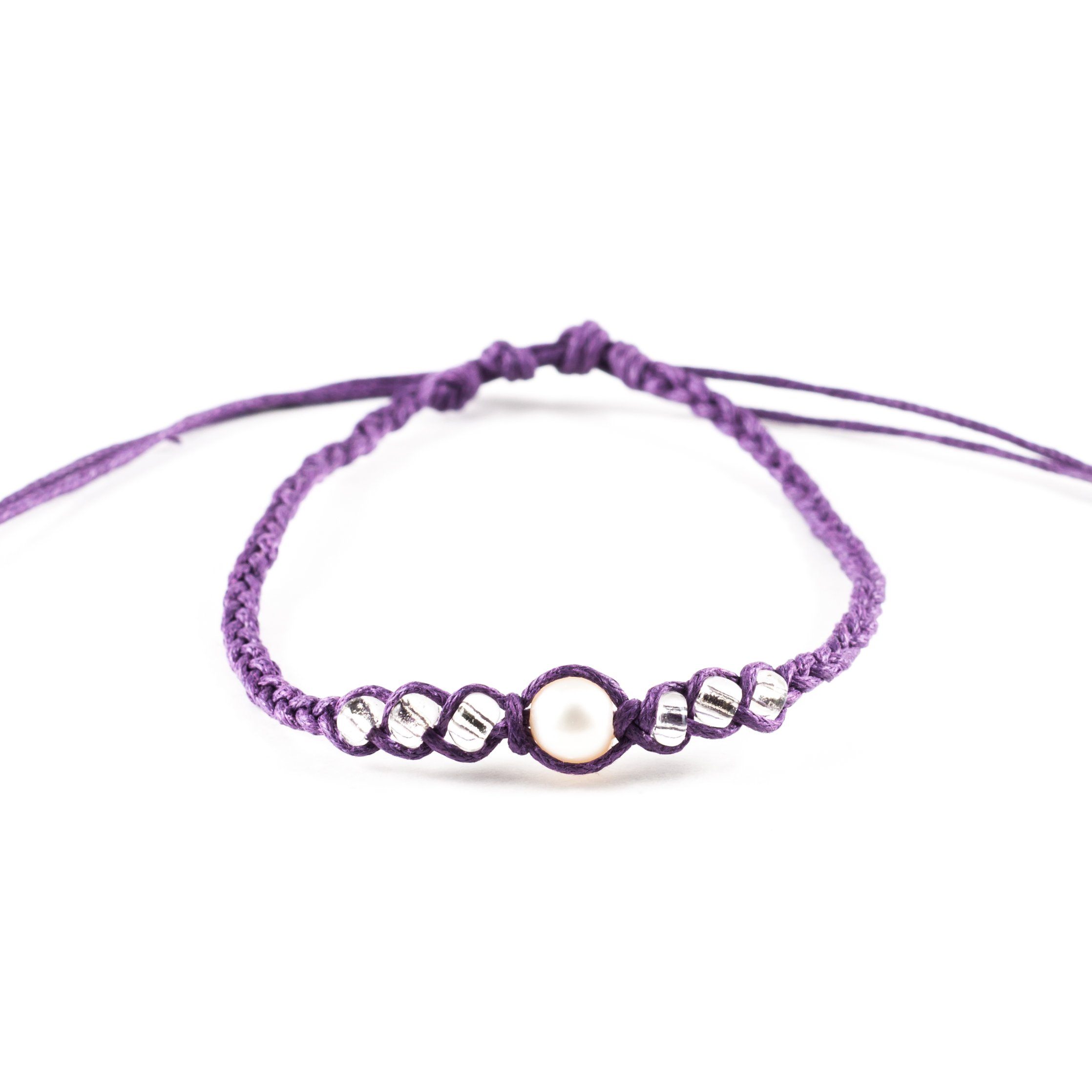 Genuine Cultured Fresh Water Pearl on Adjustable Braided Cord Bracelet with Clear Glass Beads (Purple)