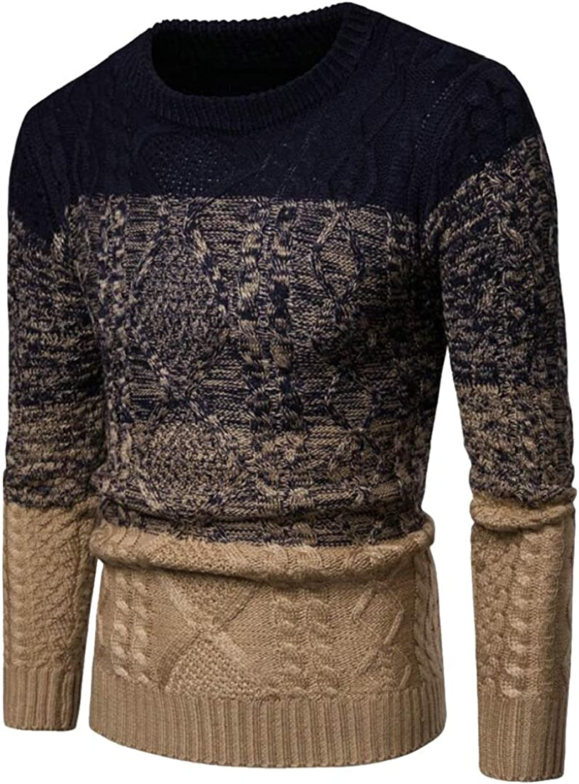 Generic Mens Stylish Christmas Thick Knitted Color Stitching Pullover Sweaters
