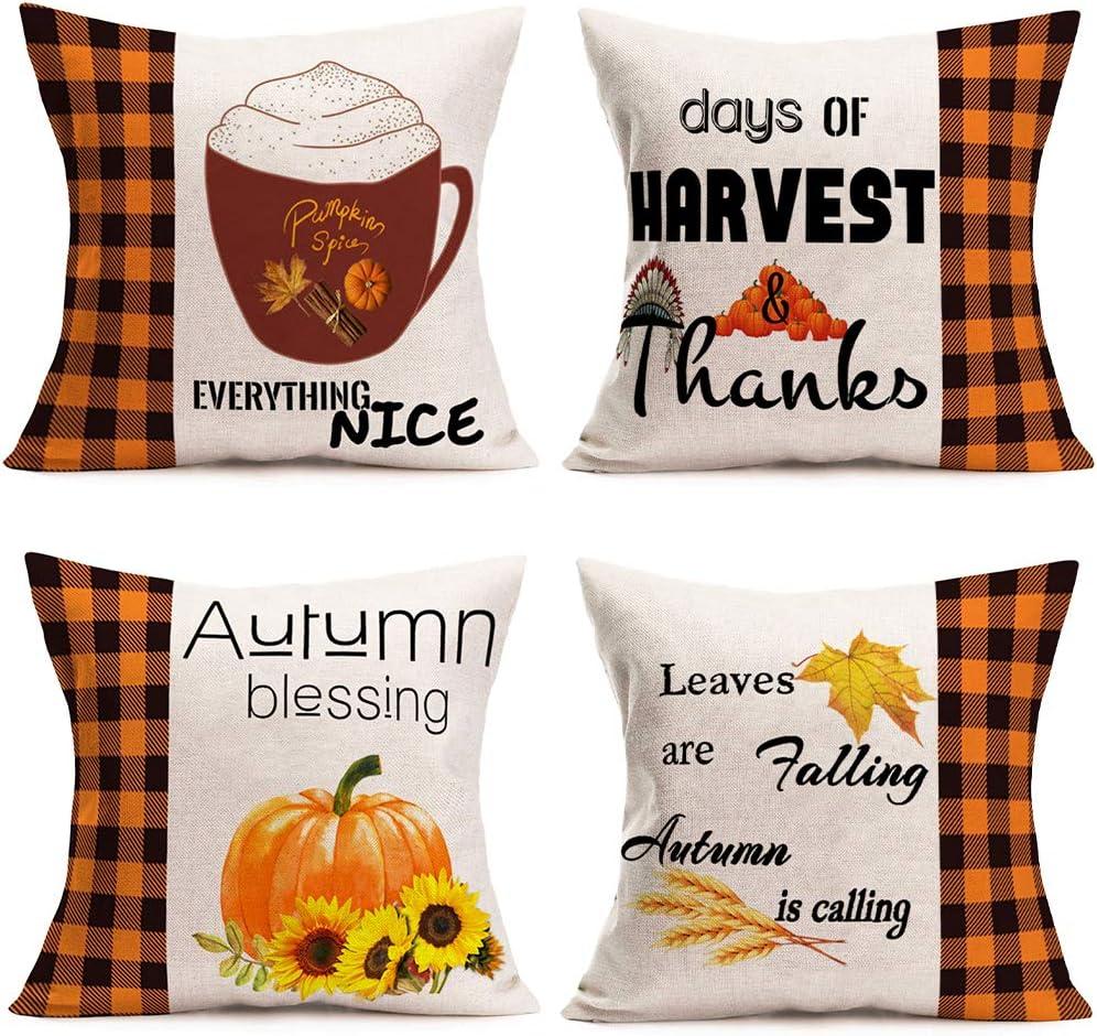 Hopyeer 4Pcs Autumn Harvest Fall Blessing Farm Pumpkin Throw Pillow Covers Black Orange Buffalo Checked Plaid Rice Sunflowers Maple Home Decor Pillowcase Cotton Linen Cushion Cover18 x18 (FP-Autumn)