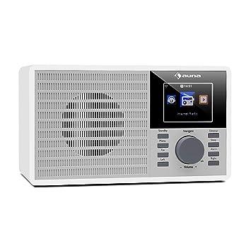 auna IR-160 - Radio Internet , WiFi , USB , MP3 , AUX , Alarma , Streaming , Pantalla TFT , Air Music Control App , Mando a Distancia , Blanco
