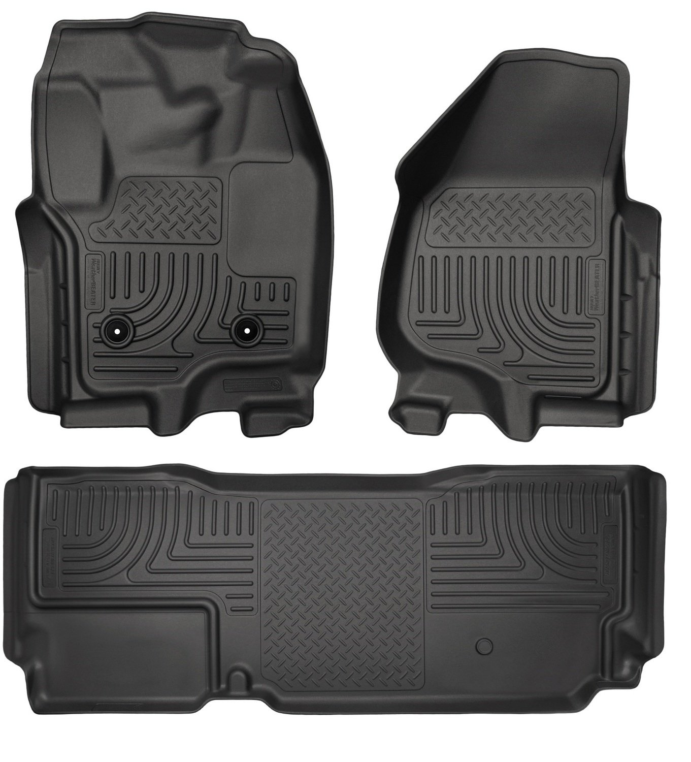 Husky Liners 99711 Front & 2nd Seat Floor Liners Fits 12-16 F250 Crew WITH Carpet and Driver Side Foot Rest