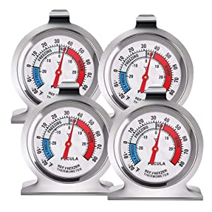4 Pack Refrigerator Thermometer -30~30°C/-20~80°F, Classic Fridge Thermometer Large Dial with Red Indicator Thermometer for Freezer Refrigerator Cooler