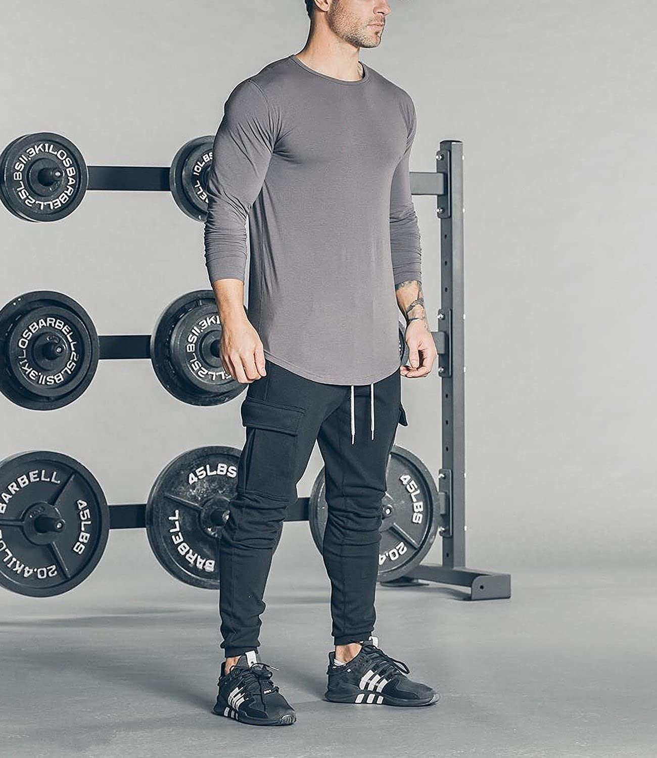Ouber Mens Cargo Joggers Gym Pants with Zippered Pockets