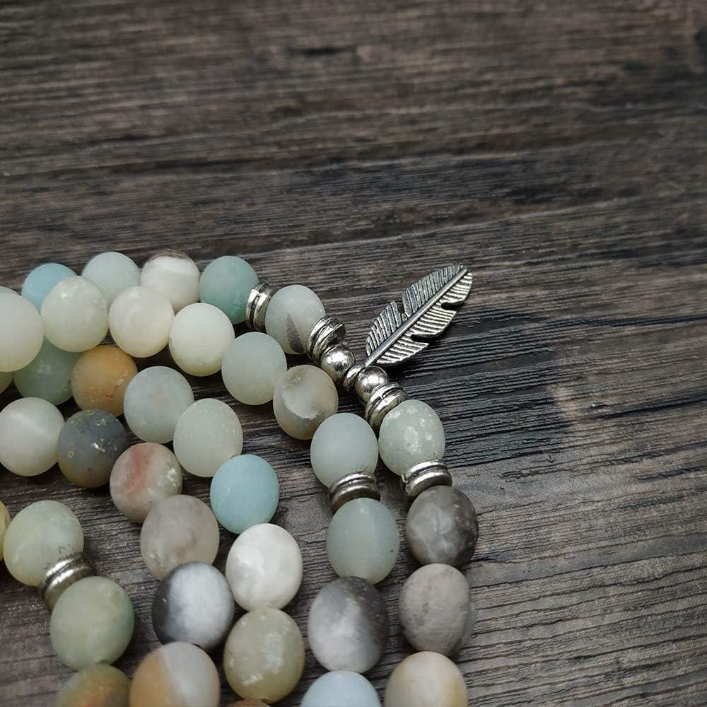 Self-Discovery 108 Japa Mala Beads Elephant Charm Bracelet or Long Necklace for Men Women or Girls