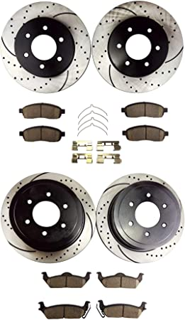 Detroit Axle Complete 4WD 6-LUG FRONT /& REAR DRILLED /& SLOTTED Brake Rotors /& Ceramic Brake Pads w//Hardware fits 2005-2008 Ford F-150 /& 2006-2008 Lincoln Mark LT 4x4 6-Lug