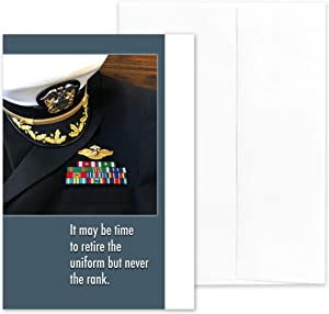 "Retire The Uniform - US Navy - Commissioned Officer Military Retirement Congratulations Greeting Card - Includes White Envelope - 5"" x 7"" - by 2MyHero"