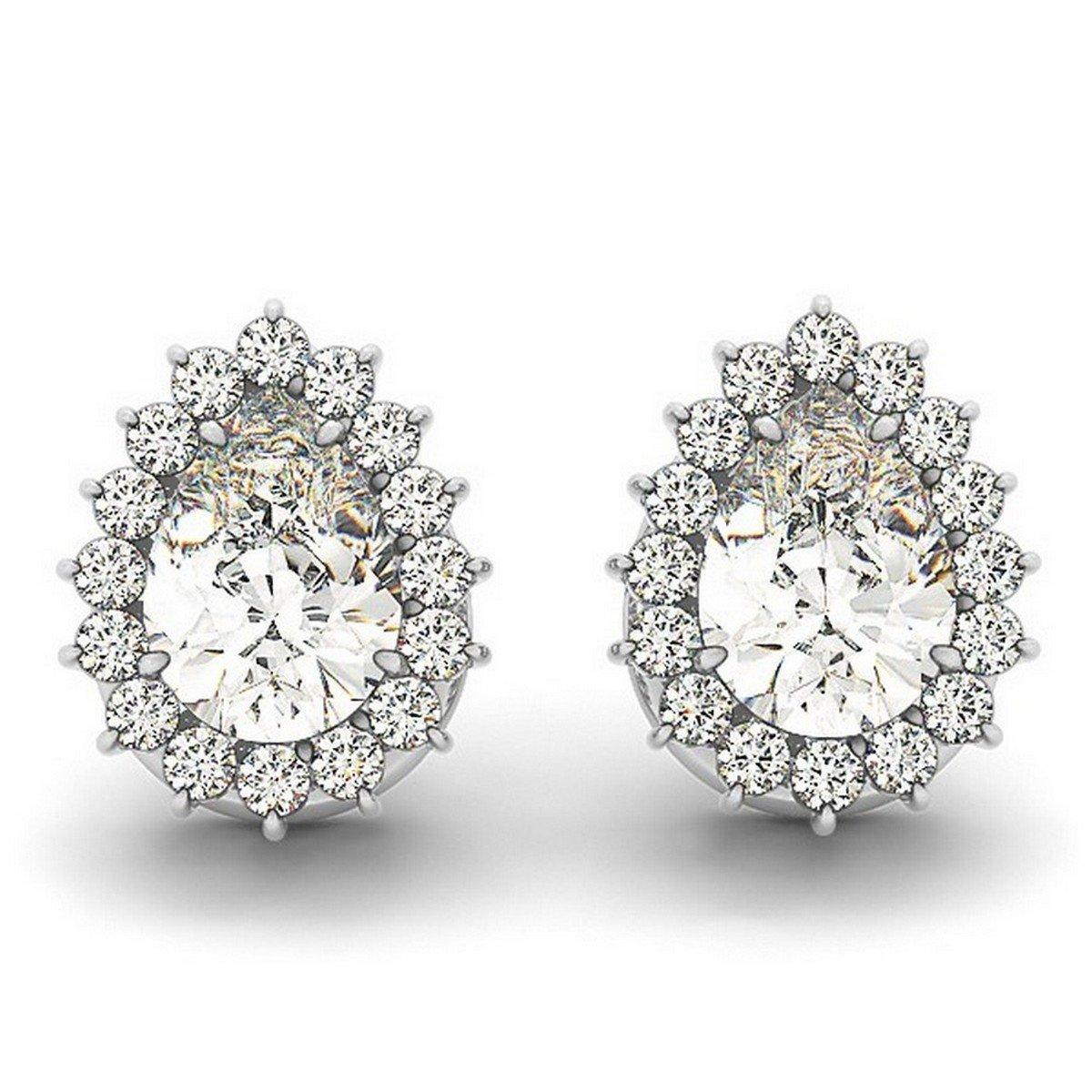 7d157e51353d2 Amazon.com: Ladies Unique Pear Shaped Diamond Teardrop Halo Stud ...