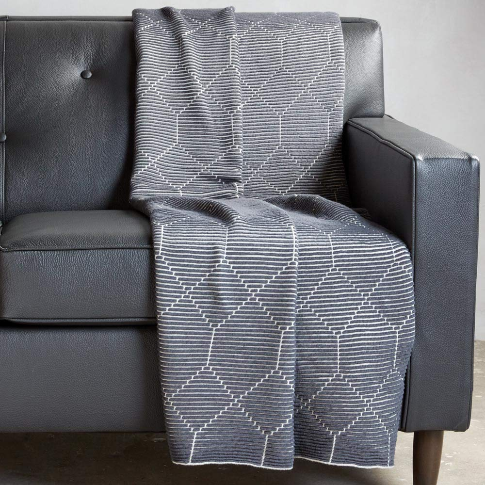 Ethan Allen Hexagon Throw Blanket, Gray by Ethan Allen