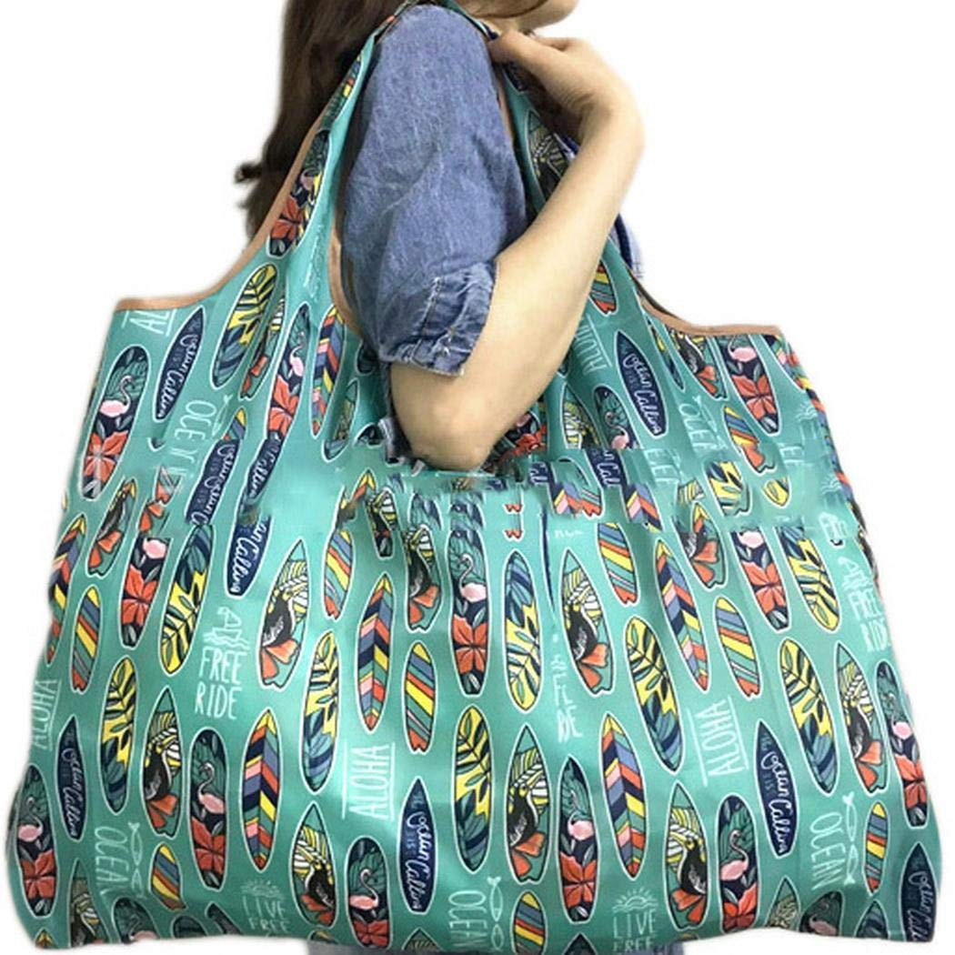 Banlany Portable Foldable Shopping Bag Cartoon Pattern Square Shopping Bag Reusable Grocery Bags