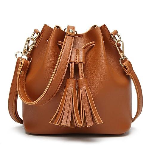Orfila Mini Bucket Bag Leather Shoulder Crossbody Bag Tassel Drawstring  Purse for Women,Brown 9dd098aab2