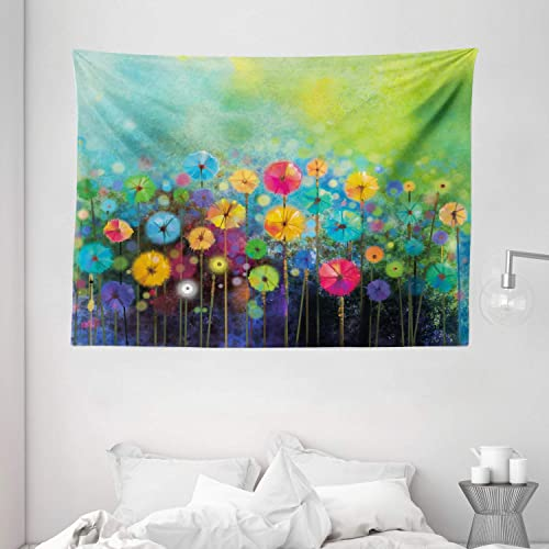 Ambesonne Flower Tapestry, Dandelions Featured in Garden with Brushstrokes Watercolored Abstract Landscape Art, Wide Wall Hanging for Bedroom Living Room Dorm, 80 X 60 , Green Yellow