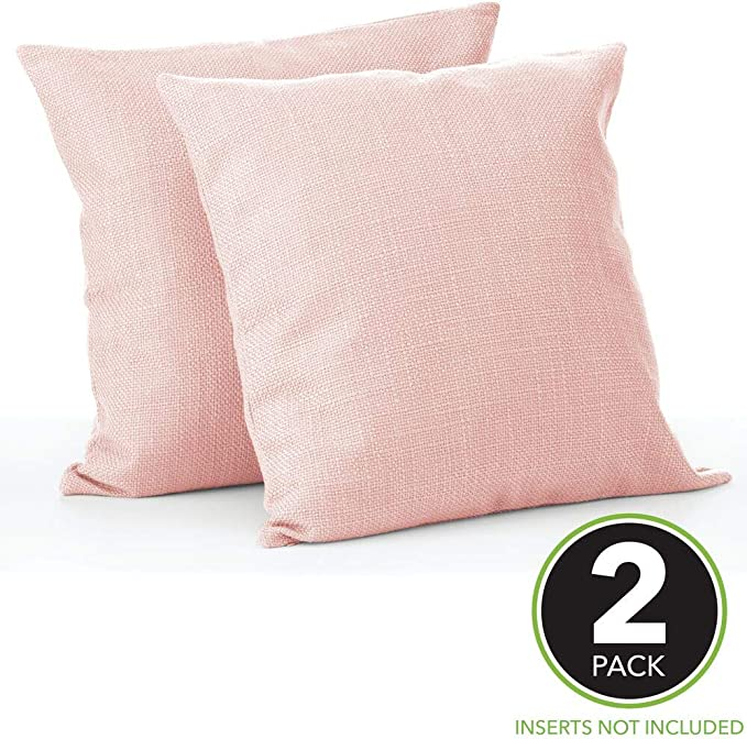 Mdesign Solid Color Decorative Faux Linen Throw Pillow Cover Cushion Cover Pillowcase For Couch Sofa Bed 18 X 18 Inches No Pillow Insert 2 Pack Blush Pink Home Kitchen
