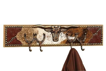 Western Coat Rack Custom Longhorn Cowhide Rustic Decor Home