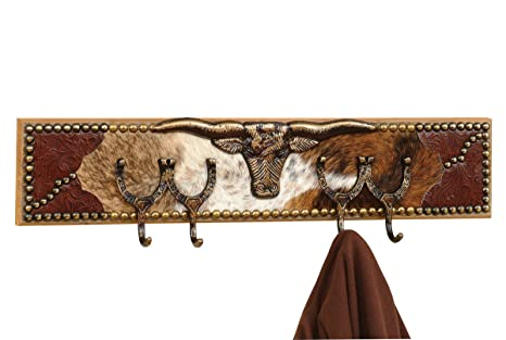 Black Forest Décor Double Ox Yoke with Horseshoe Coat Rack