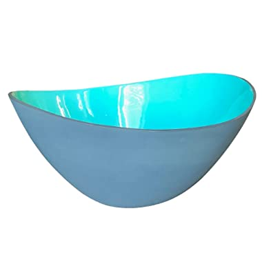 Large Teal and Grey Wave Salad Bowl by Kauri Design | Over-sized Ceramic Serving Bowl