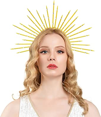 Goddess Halo Crown Sunburst Spiked Headband Women's Halloween Wedding Photoshoot Accessories