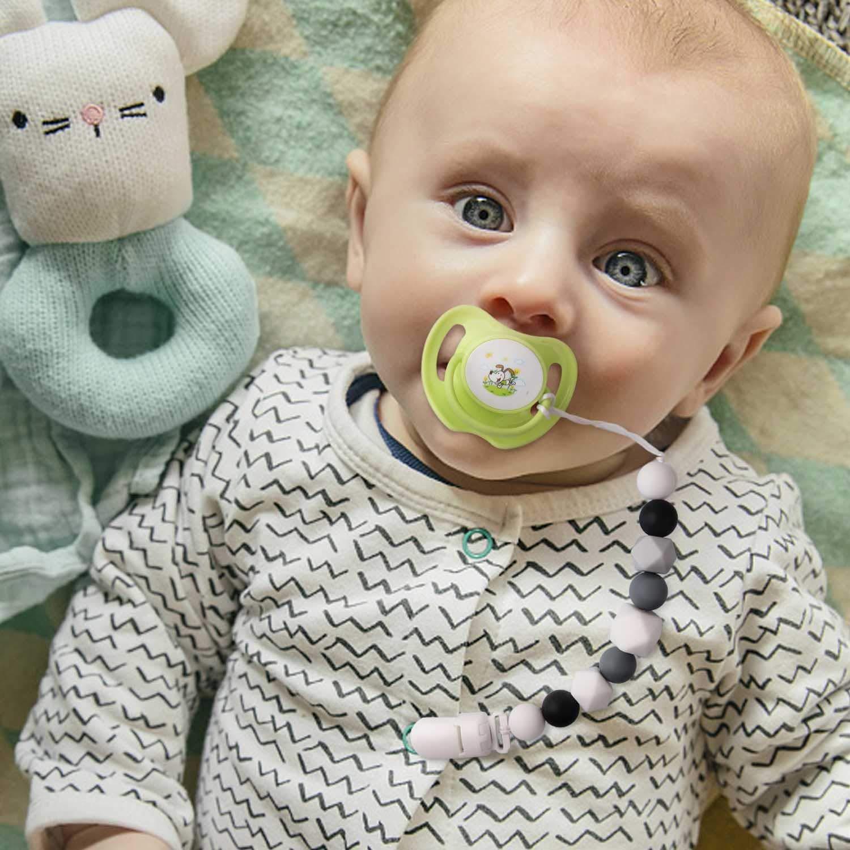 Schnullerkette M/ädchen Schnuller Clip Silikon Perlen Bei/ßring Zahnen BPA Frei f/ür Babys